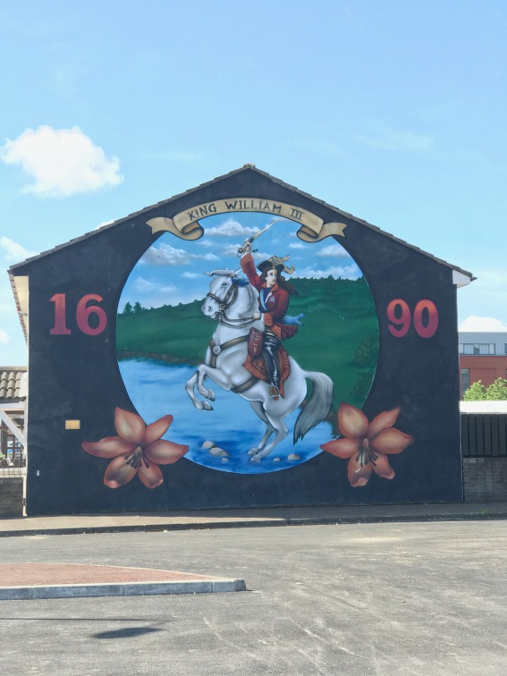 A mural of king William, the Protestant that defeated the Catholic king