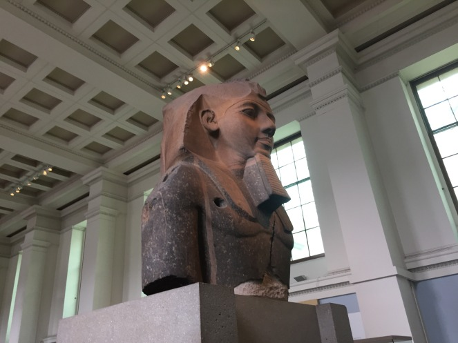 A statue of an Egyptian pharaoh at the British Museum