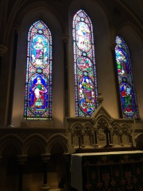 Stained glass windows in the silent prayer area at St. Patrick's