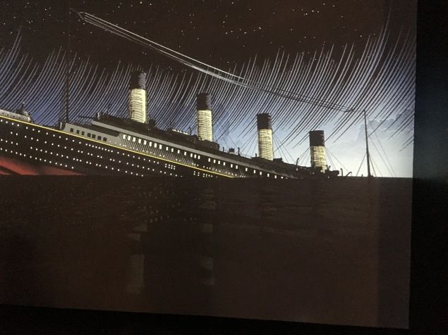 Drawing of the sinking of the Titanic.