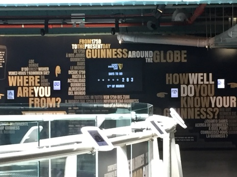 A sign inside the Guinness Museum counting the days until St. Patrick's Day