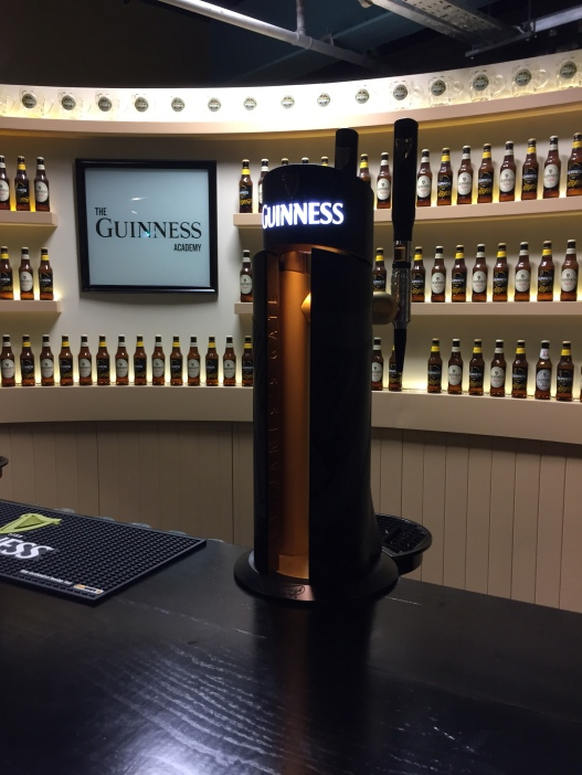 The pour-your-own-Guinness display inside the Guinness Museum